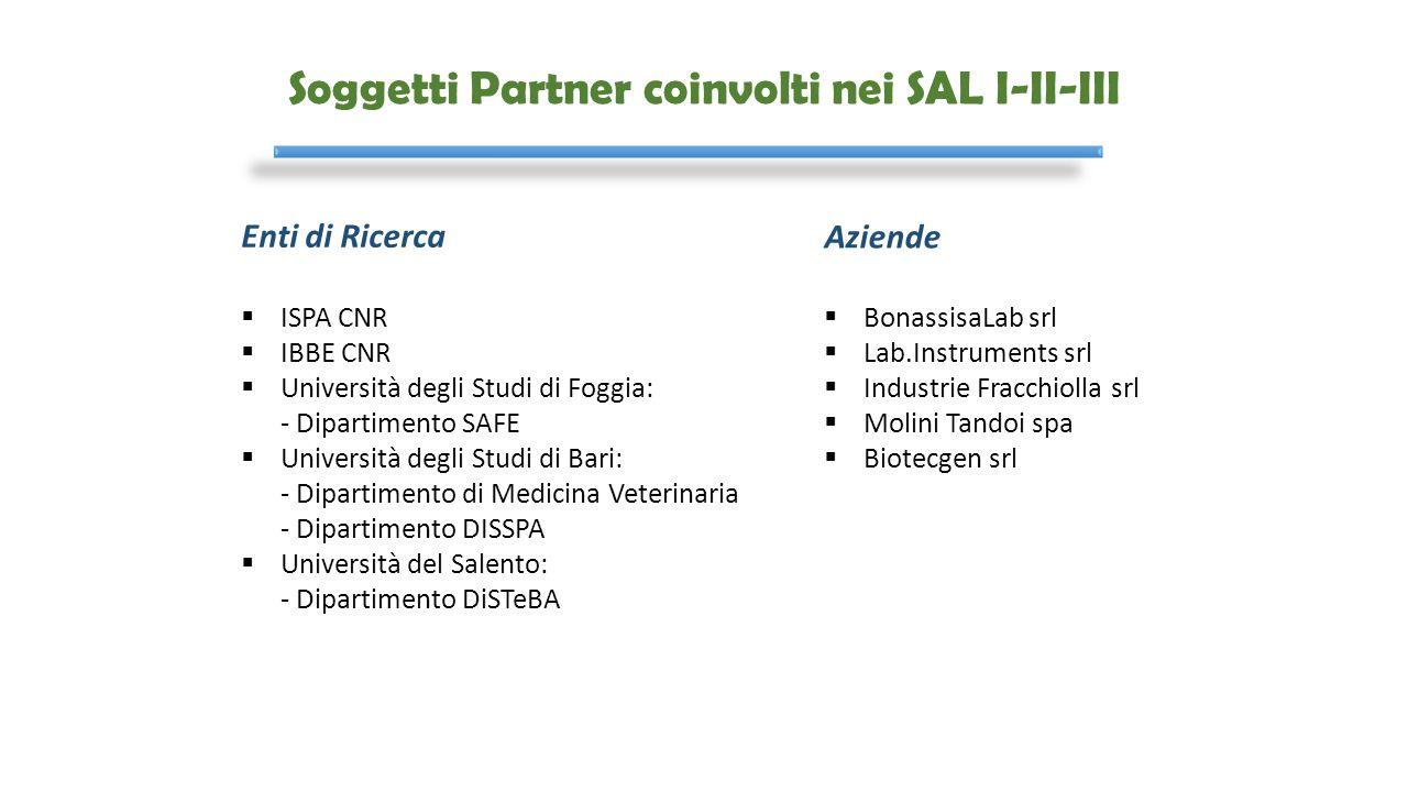 Soggetti Partner coinvolti nei SAL I-II-III Enti di Ricerca  ISPA CNR  IBBE CNR  Università degli Studi di Foggia: - Dipartimento SAFE  Università
