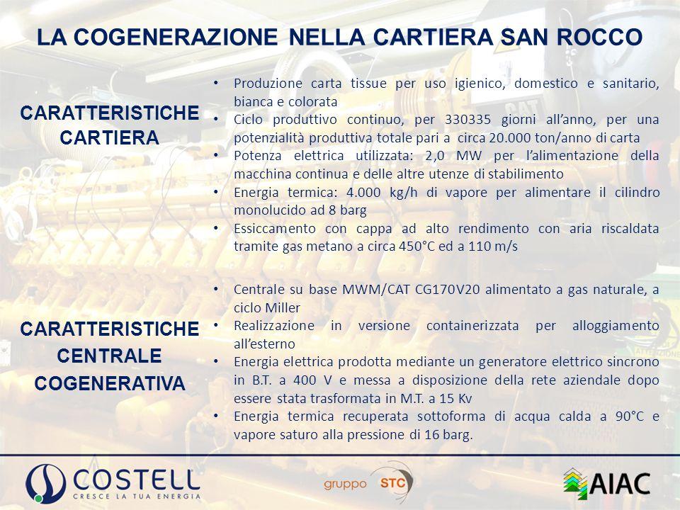 LA COGENERAZIONE NELLA CARTIERA SAN ROCCO CARATTERISTICHE CARTIERA Produzione carta tissue per uso igienico, domestico e sanitario, bianca e colorata