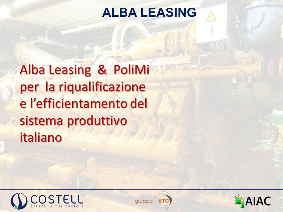 Alba Leasing è una società specializzata nei finanziamenti in leasing, operativa dal primo gennaio 2010 per iniziativa di alcune fra i più solidi e affidabili Gruppi Bancari a livello nazionale: 21 Alba Leasing : chi siamo