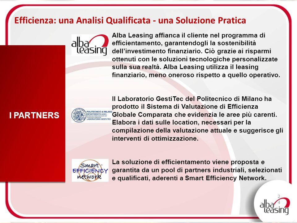 24 Efficienza: una Analisi Qualificata - una Soluzione Pratica I PARTNERS Alba Leasing affianca il cliente nel programma di efficientamento, garantend