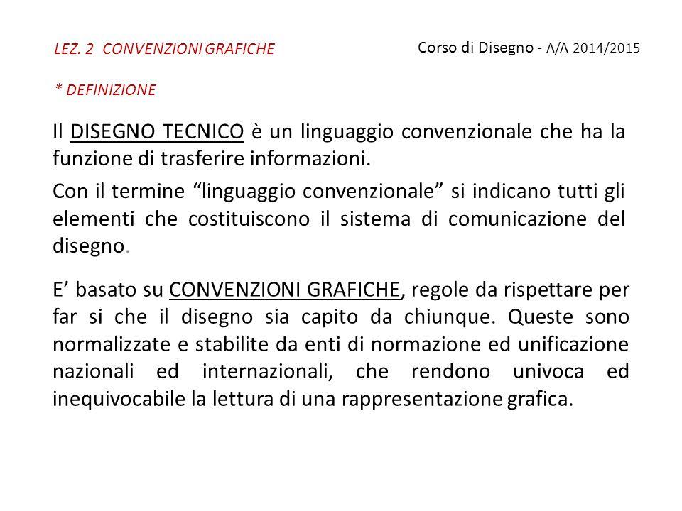 LEZ. 2 CONVENZIONI GRAFICHE * DEFINIZIONE E' basato su CONVENZIONI GRAFICHE, regole da rispettare per far si che il disegno sia capito da chiunque. Qu