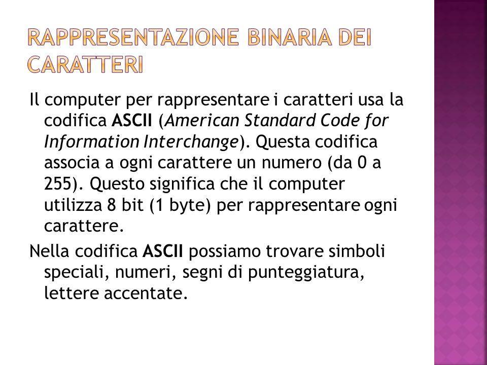 Il computer per rappresentare i caratteri usa la codifica ASCII (American Standard Code for Information Interchange). Questa codifica associa a ogni c