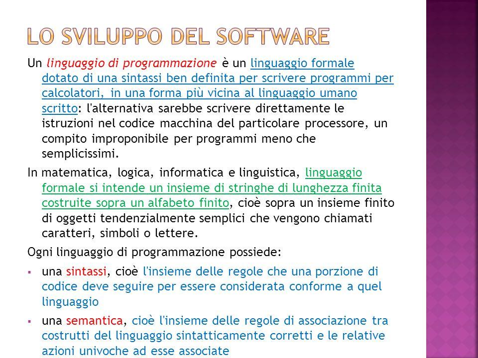 Un linguaggio di programmazione è un linguaggio formale dotato di una sintassi ben definita per scrivere programmi per calcolatori, in una forma più v