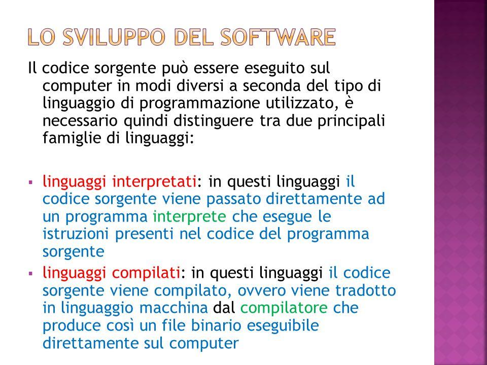 Il codice sorgente può essere eseguito sul computer in modi diversi a seconda del tipo di linguaggio di programmazione utilizzato, è necessario quindi