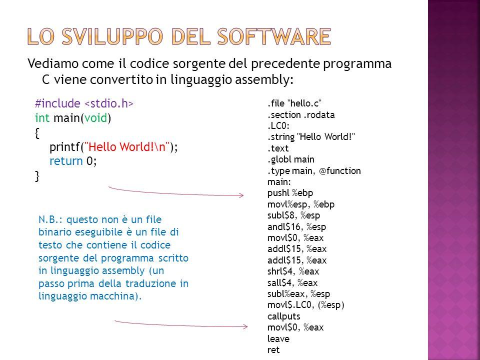 Vediamo come il codice sorgente del precedente programma C viene convertito in linguaggio assembly:.file