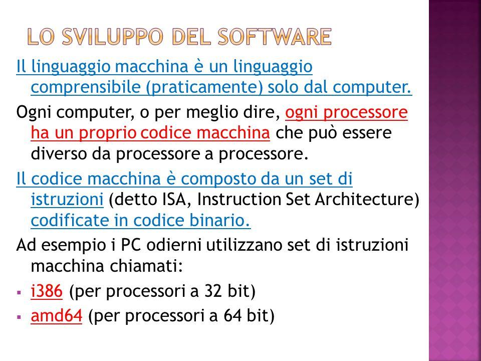 Il linguaggio macchina è un linguaggio comprensibile (praticamente) solo dal computer. Ogni computer, o per meglio dire, ogni processore ha un proprio