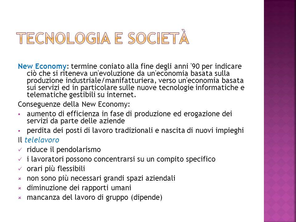 New Economy: termine coniato alla fine degli anni '90 per indicare ciò che si riteneva un'evoluzione da un'economia basata sulla produzione industrial