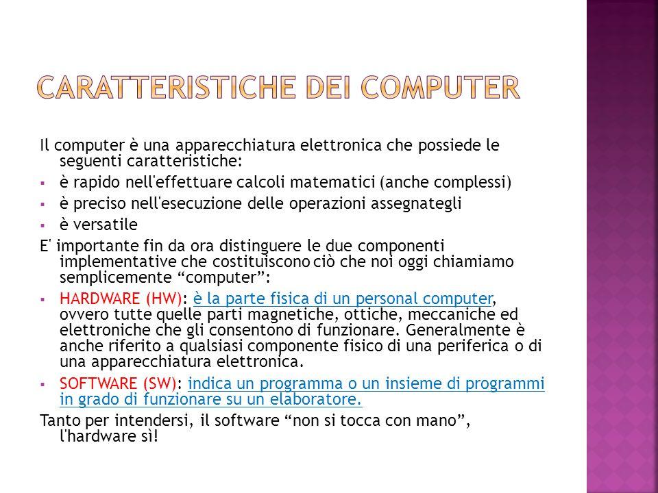Il computer è una apparecchiatura elettronica che possiede le seguenti caratteristiche:  è rapido nell'effettuare calcoli matematici (anche complessi