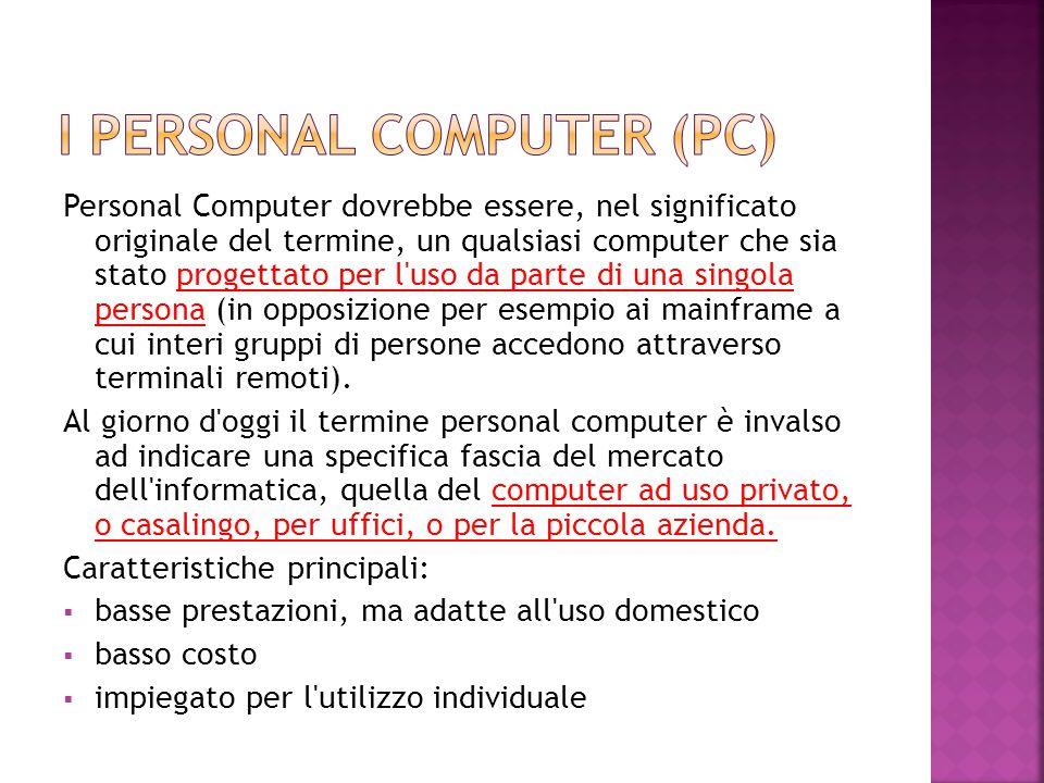 Personal Computer dovrebbe essere, nel significato originale del termine, un qualsiasi computer che sia stato progettato per l'uso da parte di una sin