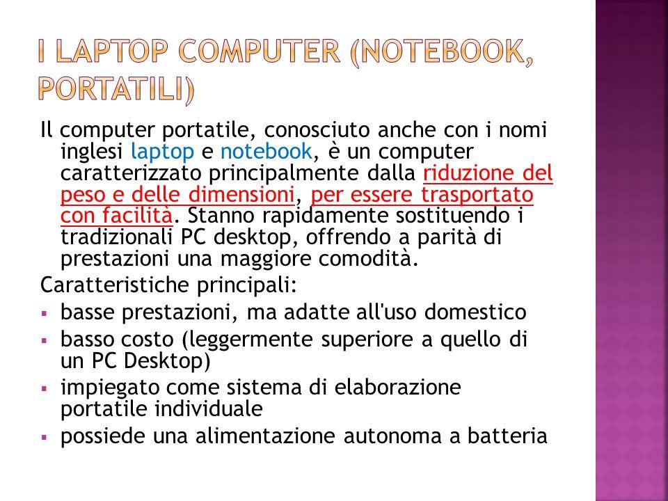 Il computer portatile, conosciuto anche con i nomi inglesi laptop e notebook, è un computer caratterizzato principalmente dalla riduzione del peso e d