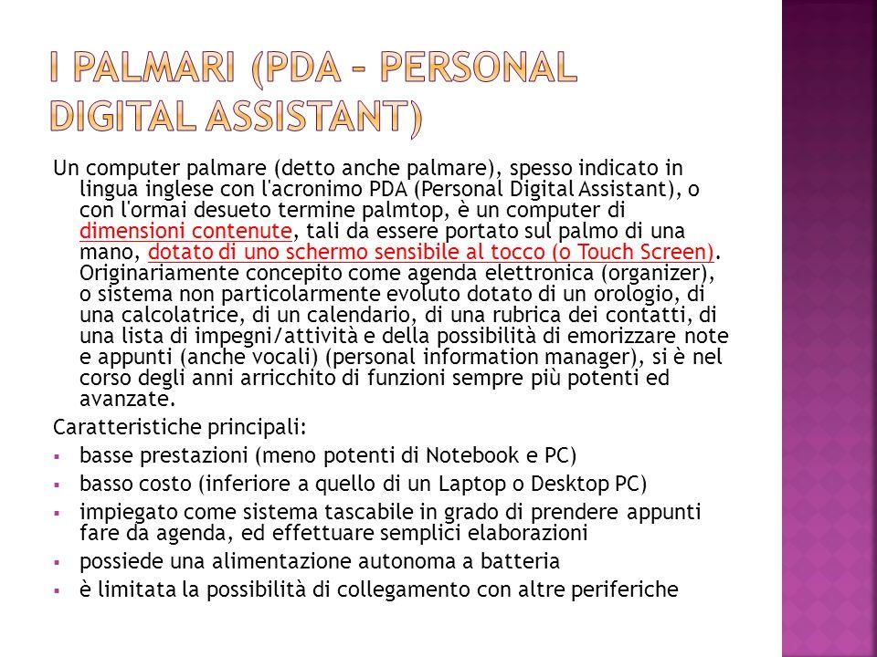 Un computer palmare (detto anche palmare), spesso indicato in lingua inglese con l'acronimo PDA (Personal Digital Assistant), o con l'ormai desueto te