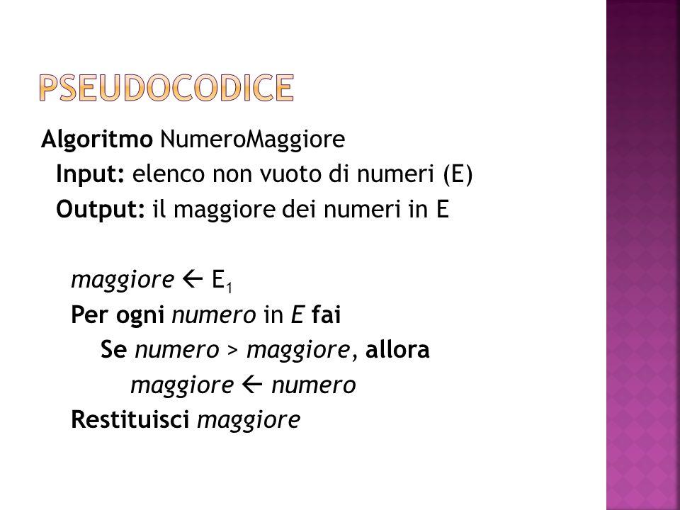 Algoritmo NumeroMaggiore Input: elenco non vuoto di numeri (E) Output: il maggiore dei numeri in E maggiore  E 1 Per ogni numero in E fai Se numero >