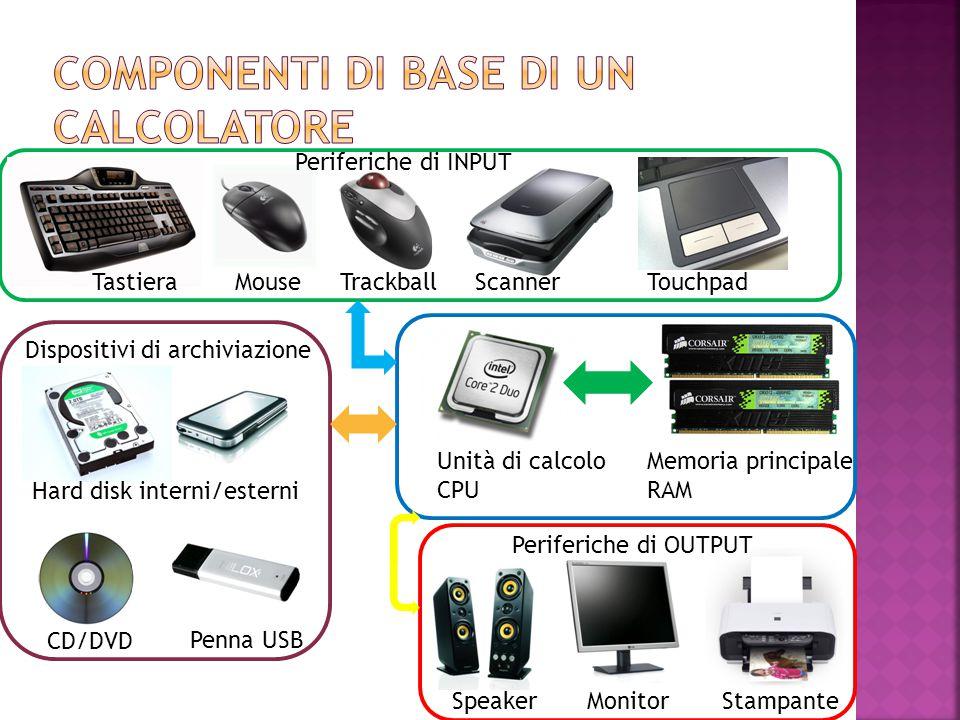 TastieraMouseTrackballScannerTouchpad Hard disk interni/esterni CD/DVD Penna USB Dispositivi di archiviazione Unità di calcolo CPU Memoria principale