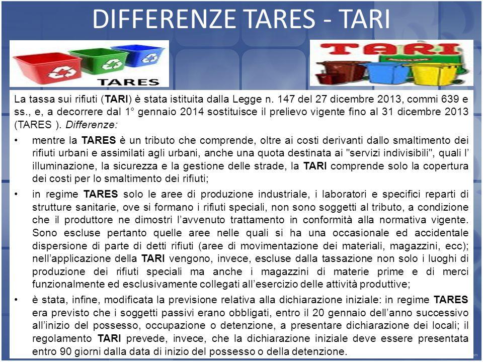 14 DIFFERENZE TARES - TARI La tassa sui rifiuti (TARI) è stata istituita dalla Legge n.