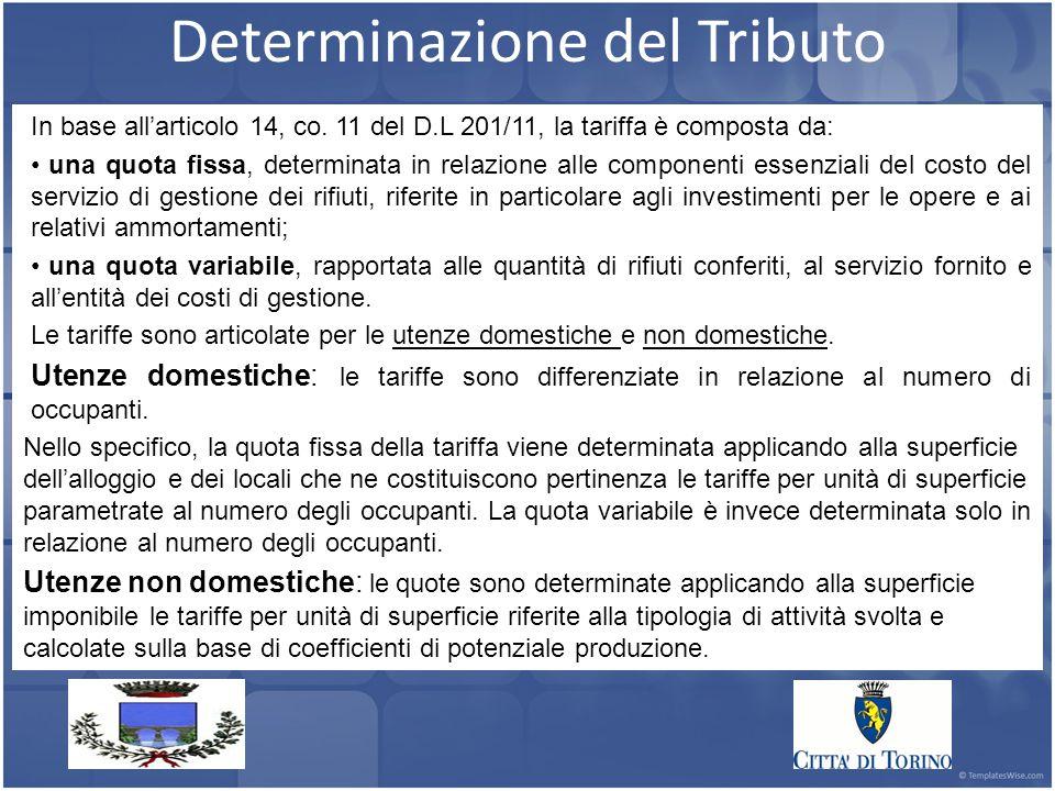Determinazione del Tributo In base all'articolo 14, co.