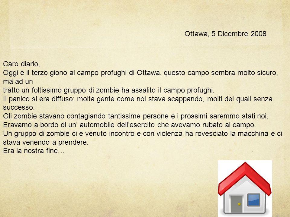 Ottawa, 2 Dicembre 2008 Caro diario, oggi ci siamo diretti verso un campo profughi di Ottawa, come ci hanno consigliato dei cittadini. Siamo stato acc