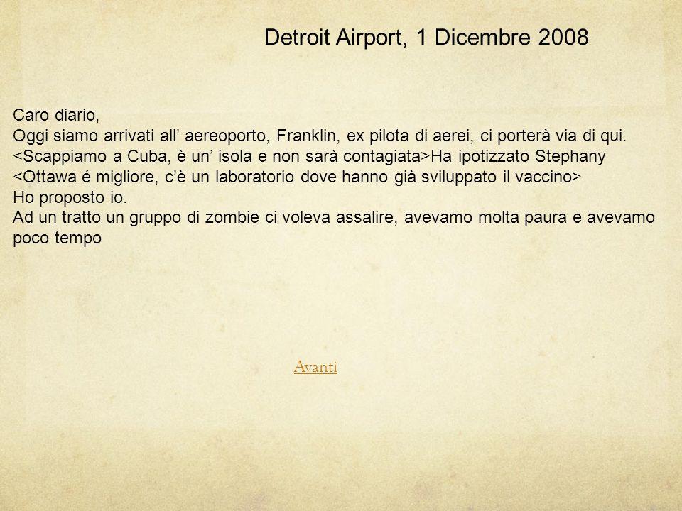 Detroit Airport, 1 Dicembre 2008 Caro diario, Oggi siamo arrivati all' aereoporto, Franklin, ex pilota di aerei, ci porterà via di qui.