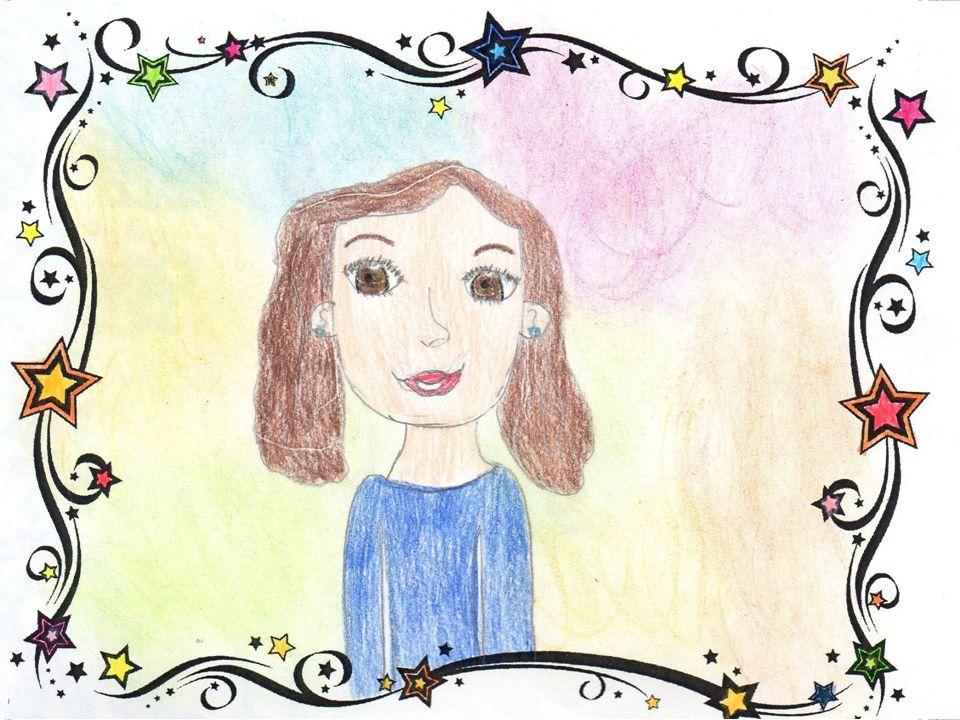 Autoritratto Il mio volto è rotondo,di colorito olivastro con un' espressione allegra. Ho gli occhi marroni e verdi di forma un po' allungata,il naso