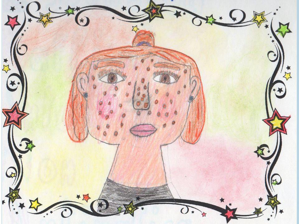Il mio volto è paffutello, di colorito rosa chiaro con un'espressione felice. Ho gli occhi marroni, di forma ovale,il naso piccolo,la bocca graziosa.