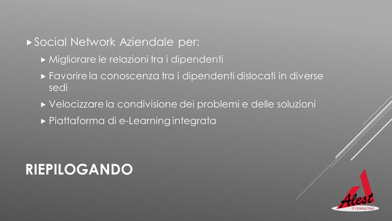 RIEPILOGANDO  Social Network Aziendale per:  Migliorare le relazioni tra i dipendenti  Favorire la conoscenza tra i dipendenti dislocati in diverse