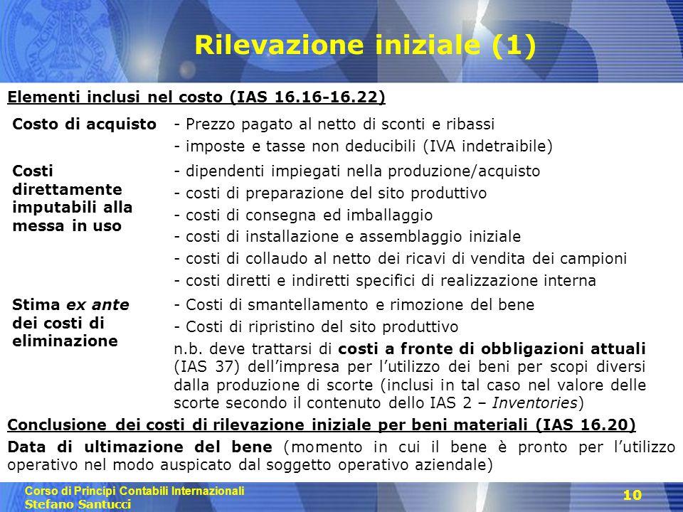 Corso di Principi Contabili Internazionali Stefano Santucci 10 Elementi inclusi nel costo (IAS 16.16-16.22) Conclusione dei costi di rilevazione inizi