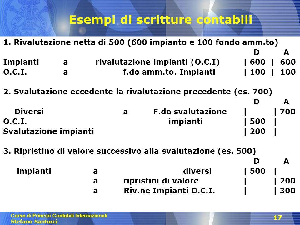 Corso di Principi Contabili Internazionali Stefano Santucci 17 Esempi di scritture contabili 1. Rivalutazione netta di 500 (600 impianto e 100 fondo a
