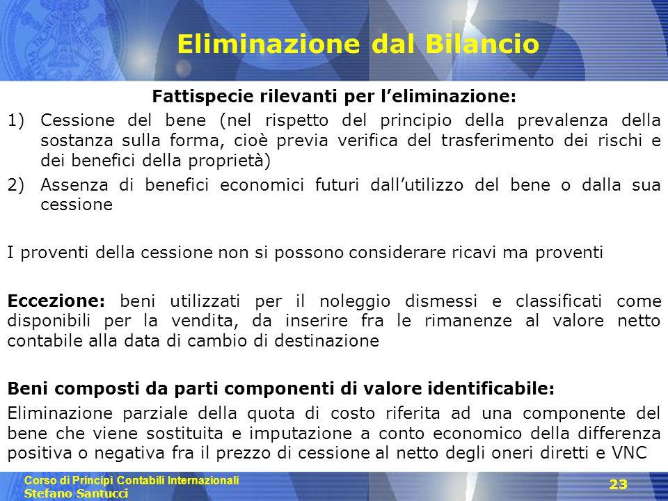 Corso di Principi Contabili Internazionali Stefano Santucci Eliminazione dal Bilancio Fattispecie rilevanti per l'eliminazione: 1)Cessione del bene (n