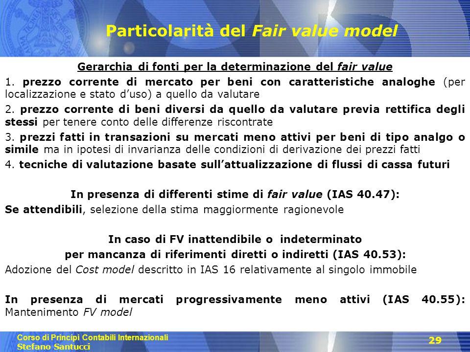 Corso di Principi Contabili Internazionali Stefano Santucci 29 Particolarità del Fair value model Gerarchia di fonti per la determinazione del fair value 1.