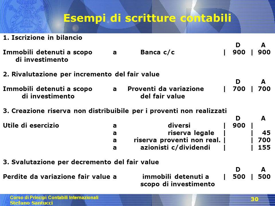 Corso di Principi Contabili Internazionali Stefano Santucci 30 Esempi di scritture contabili 1. Iscrizione in bilancio D A Immobili detenuti a scopo a