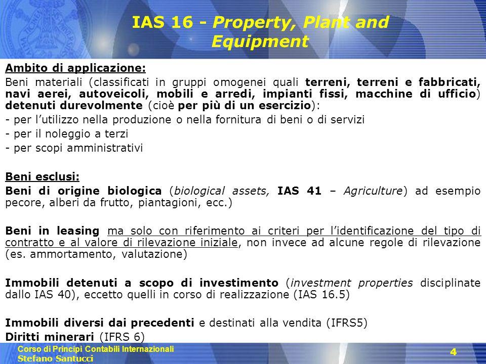 Corso di Principi Contabili Internazionali Stefano Santucci 4 IAS 16 - Property, Plant and Equipment Ambito di applicazione: Beni materiali (classific