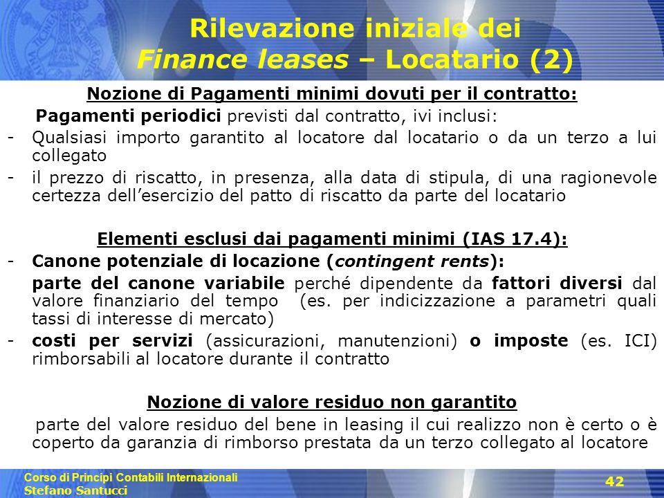Corso di Principi Contabili Internazionali Stefano Santucci 42 Rilevazione iniziale dei Finance leases – Locatario (2) Nozione di Pagamenti minimi dov
