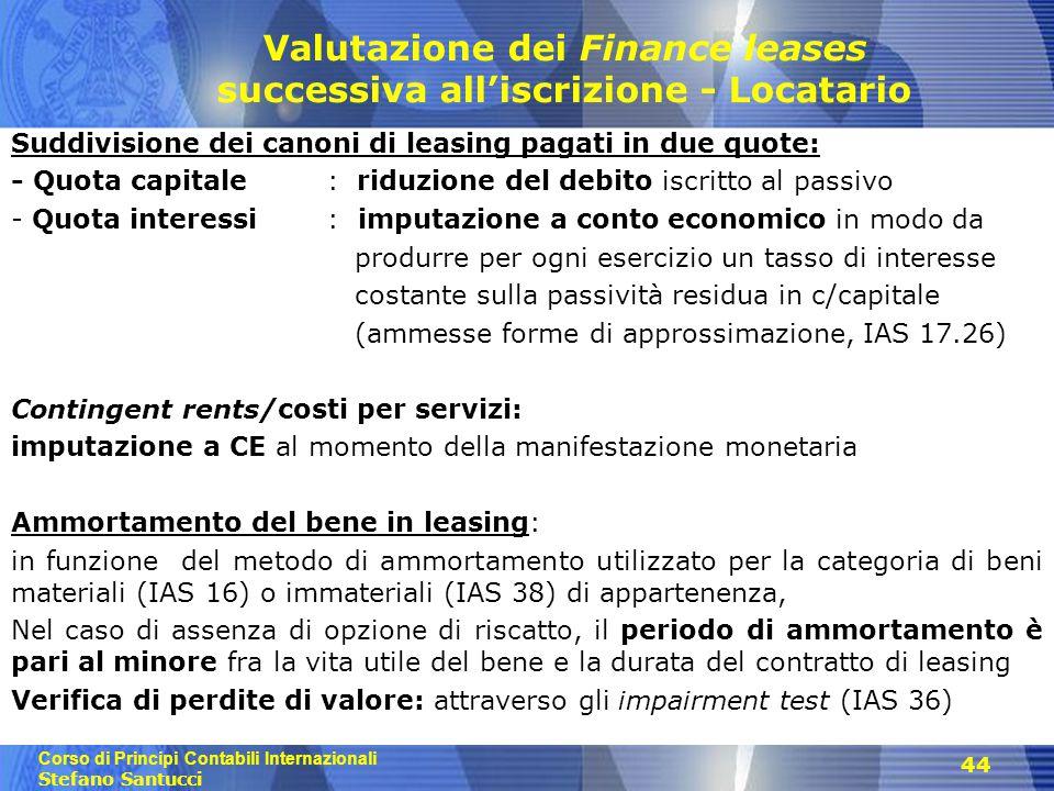Corso di Principi Contabili Internazionali Stefano Santucci 44 Valutazione dei Finance leases successiva all'iscrizione - Locatario Suddivisione dei c