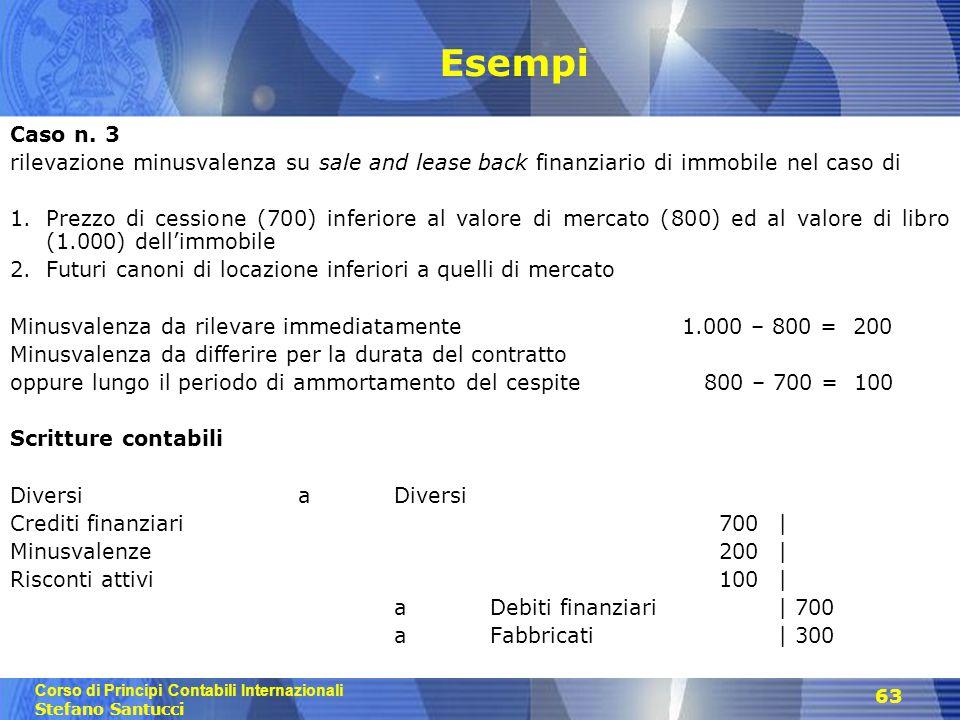 Corso di Principi Contabili Internazionali Stefano Santucci 63 Esempi Caso n. 3 rilevazione minusvalenza su sale and lease back finanziario di immobil