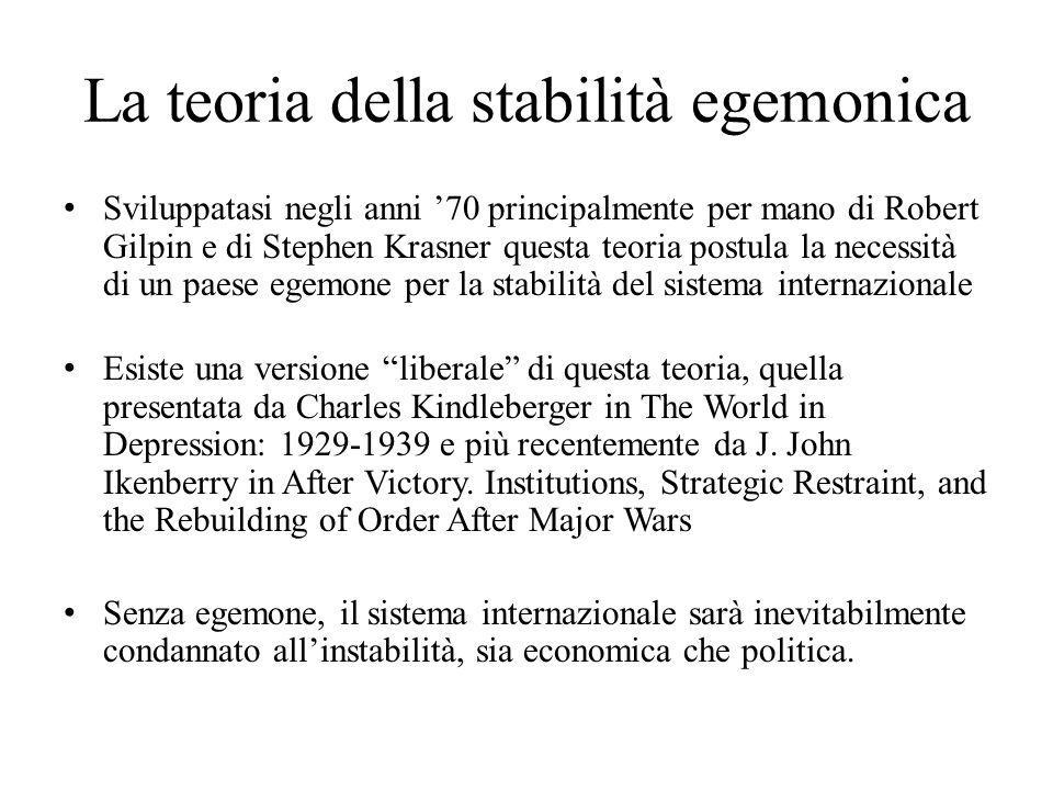 La teoria della stabilità egemonica Sviluppatasi negli anni '70 principalmente per mano di Robert Gilpin e di Stephen Krasner questa teoria postula la