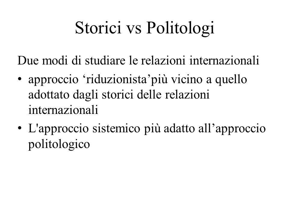 Storici vs Politologi Due modi di studiare le relazioni internazionali approccio 'riduzionista'più vicino a quello adottato dagli storici delle relazi