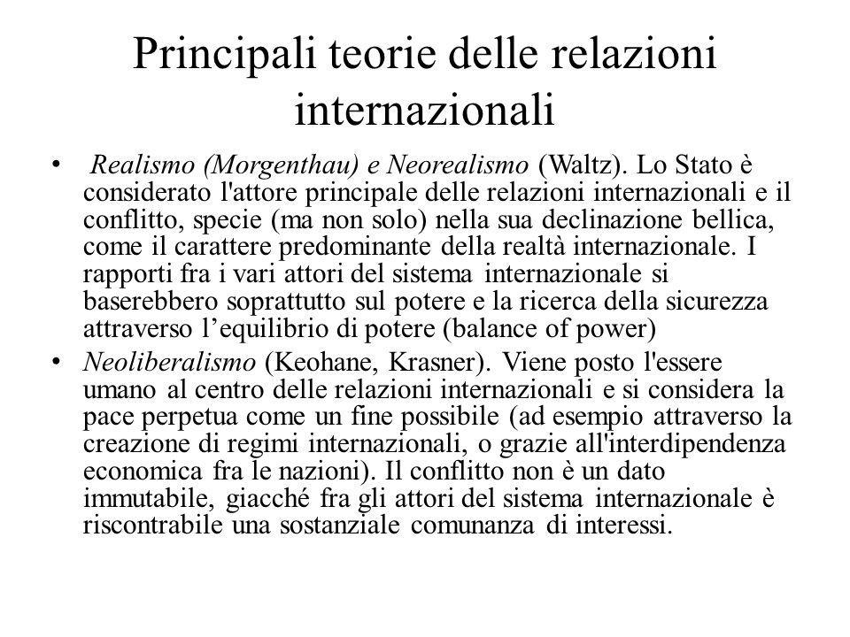 Principali teorie delle relazioni internazionali Realismo (Morgenthau) e Neorealismo (Waltz). Lo Stato è considerato l'attore principale delle relazio