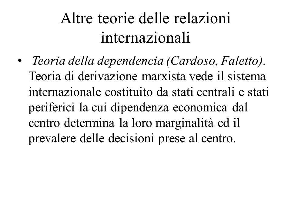 Altre teorie delle relazioni internazionali Teoria della dependencia (Cardoso, Faletto). Teoria di derivazione marxista vede il sistema internazionale