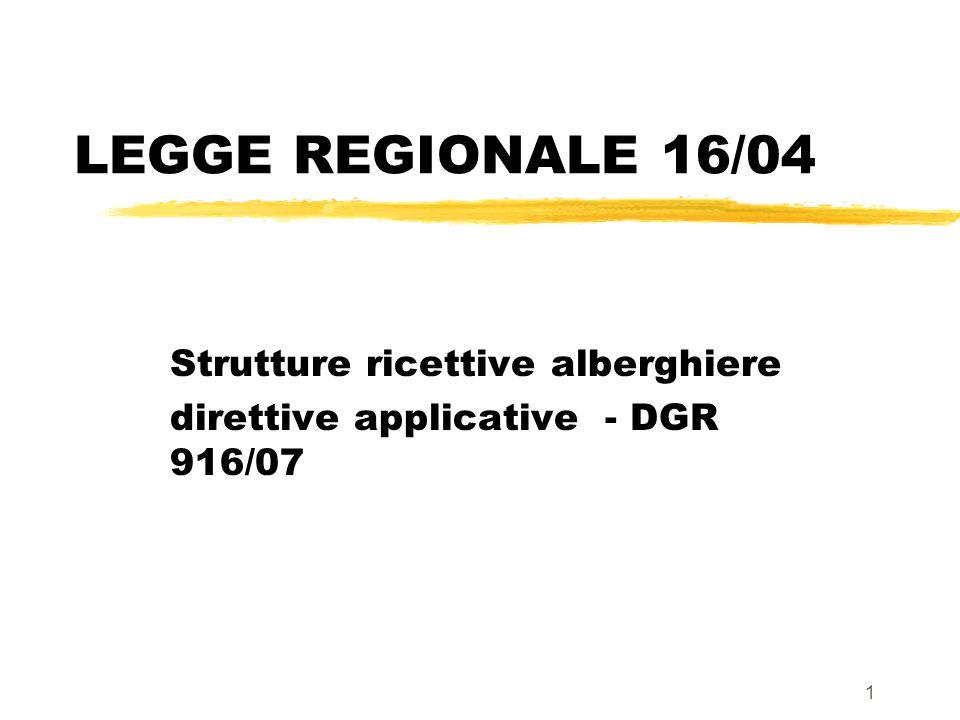 1 LEGGE REGIONALE 16/04 Strutture ricettive alberghiere direttive applicative - DGR 916/07