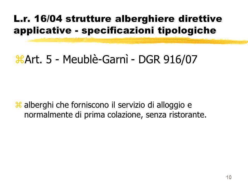 10 L.r. 16/04 strutture alberghiere direttive applicative - specificazioni tipologiche zArt. 5 - Meublè-Garnì - DGR 916/07 zalberghi che forniscono il
