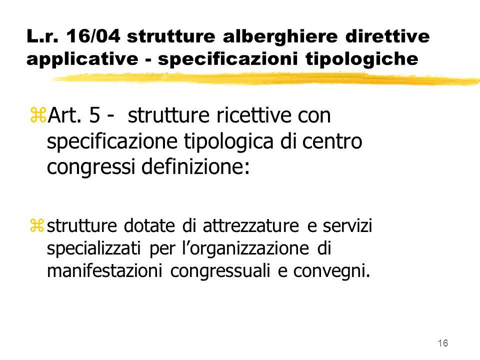 16 L.r. 16/04 strutture alberghiere direttive applicative - specificazioni tipologiche zArt. 5 - strutture ricettive con specificazione tipologica di