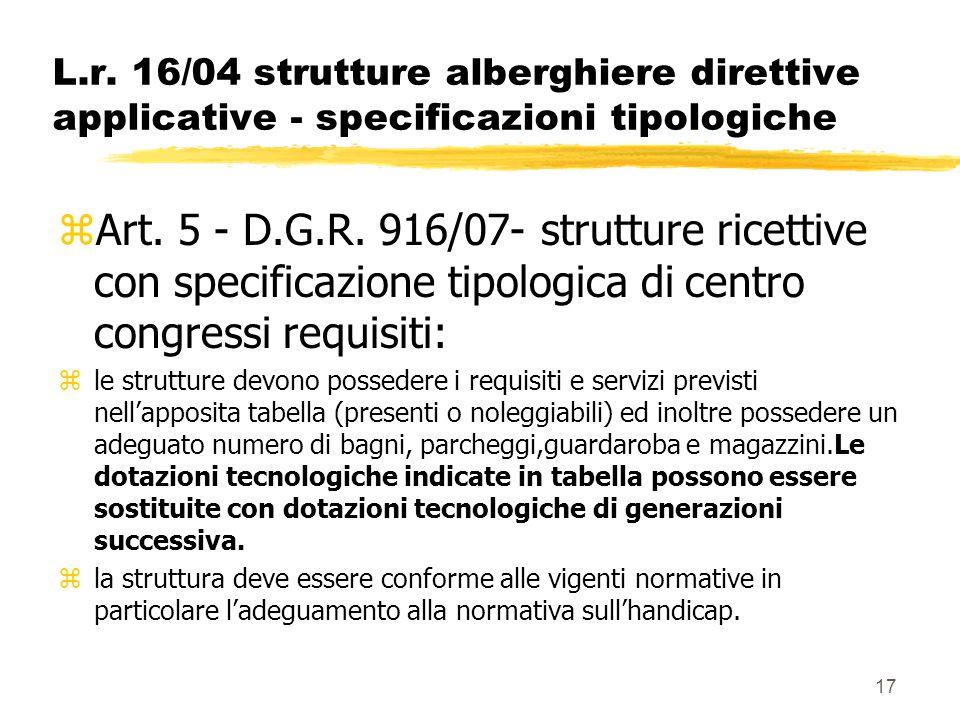 17 L.r. 16/04 strutture alberghiere direttive applicative - specificazioni tipologiche zArt. 5 - D.G.R. 916/07- strutture ricettive con specificazione