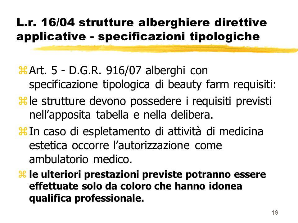 19 L.r. 16/04 strutture alberghiere direttive applicative - specificazioni tipologiche zArt. 5 - D.G.R. 916/07 alberghi con specificazione tipologica