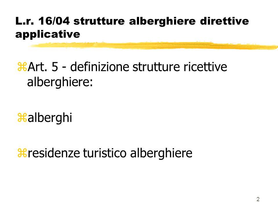 2 L.r. 16/04 strutture alberghiere direttive applicative zArt. 5 - definizione strutture ricettive alberghiere: zalberghi zresidenze turistico albergh