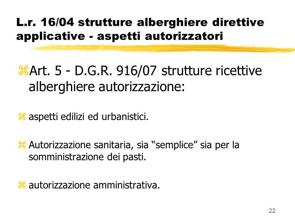 22 L.r. 16/04 strutture alberghiere direttive applicative - aspetti autorizzatori zArt. 5 - D.G.R. 916/07 strutture ricettive alberghiere autorizzazio