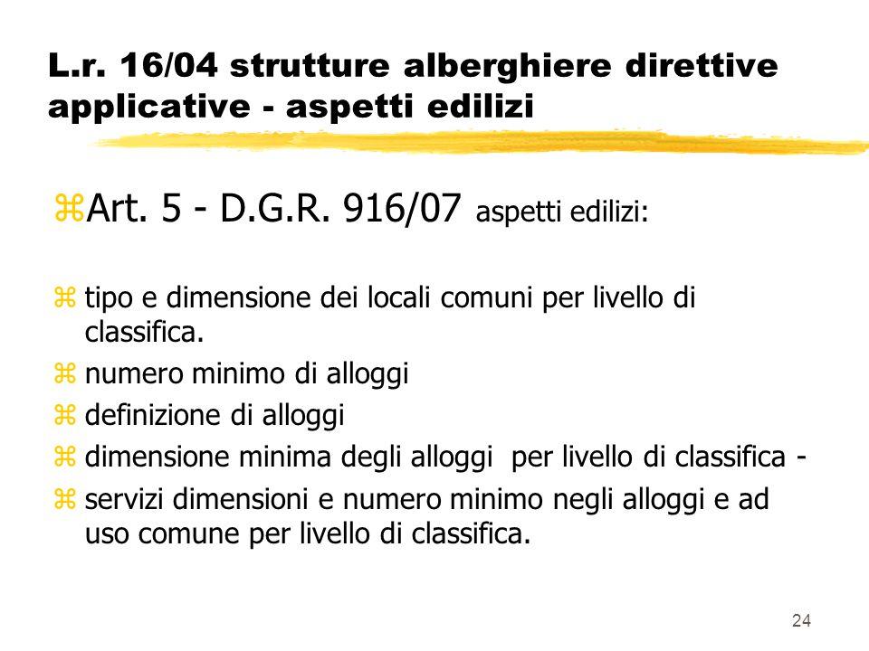 24 L.r. 16/04 strutture alberghiere direttive applicative - aspetti edilizi zArt. 5 - D.G.R. 916/07 aspetti edilizi: ztipo e dimensione dei locali com