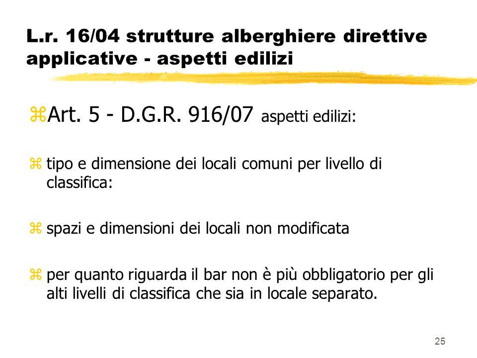 25 L.r. 16/04 strutture alberghiere direttive applicative - aspetti edilizi zArt. 5 - D.G.R. 916/07 aspetti edilizi: ztipo e dimensione dei locali com