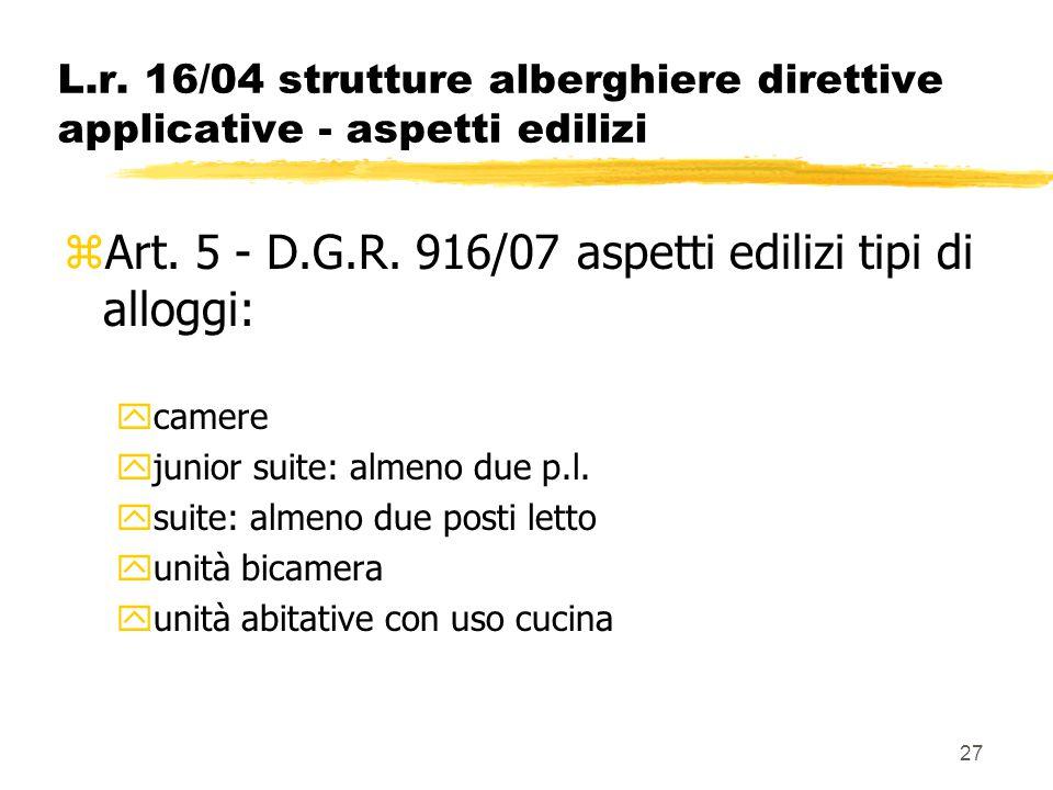 27 L.r. 16/04 strutture alberghiere direttive applicative - aspetti edilizi zArt. 5 - D.G.R. 916/07 aspetti edilizi tipi di alloggi: ycamere yjunior s