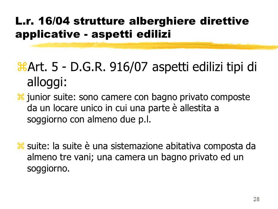 28 L.r. 16/04 strutture alberghiere direttive applicative - aspetti edilizi zArt. 5 - D.G.R. 916/07 aspetti edilizi tipi di alloggi: zjunior suite: so