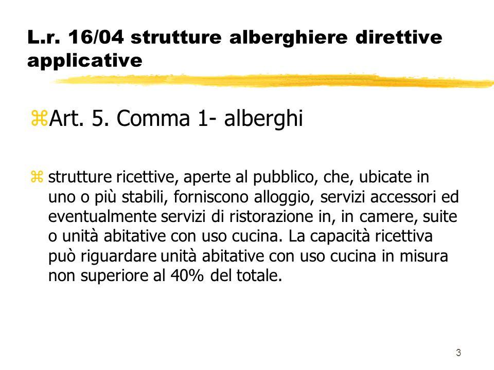 3 L.r. 16/04 strutture alberghiere direttive applicative zArt. 5. Comma 1- alberghi zstrutture ricettive, aperte al pubblico, che, ubicate in uno o pi