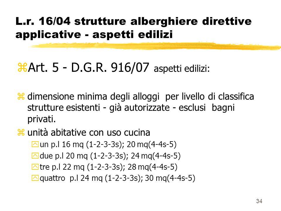 34 L.r. 16/04 strutture alberghiere direttive applicative - aspetti edilizi zArt. 5 - D.G.R. 916/07 aspetti edilizi: zdimensione minima degli alloggi